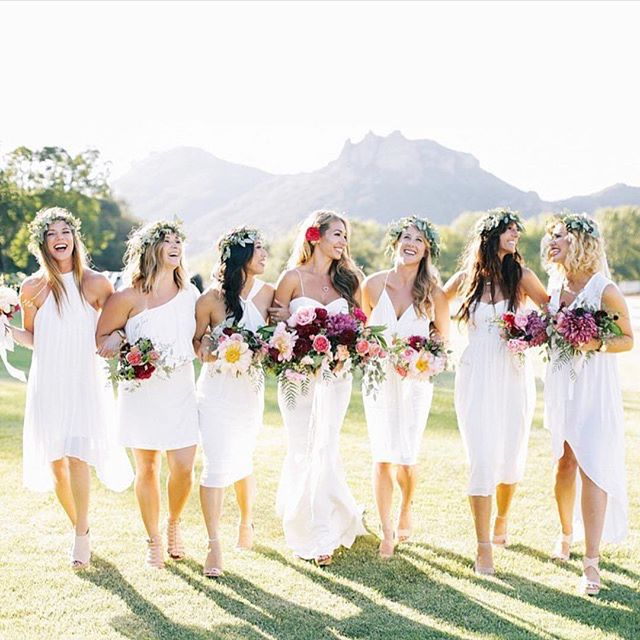Flower-crowns-all-white-gowns-bright-weddingflowers-bridal-party-perfection-Tag-your-maids-if-you-ag